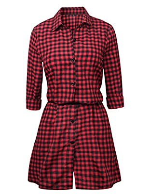 Women's Casual Long Sleeve Button Down Belted Plaid Shirt Dress