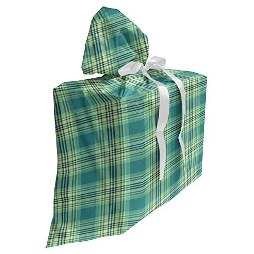 ABAKUHAUS Schotse ruit Cadeautas voor Baby Shower Feestje, Classic Pattern, Herbruikbare Stoffen Tas met 3 Linten, 70 cm x 80 cm, Petrol Blue Pale Green