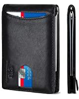 SERMAN BRANDS RFID Blocking Slim Bifold Genuine Leather Minimalist Front Pocket Wallets for Men with Money Clip (Jet Black 1.0)