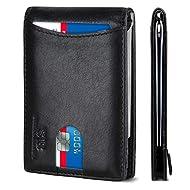 SERMAN BRANDS RFID Blocking Slim Bifold Genuine Leather Minimalist Front Pocket Wallets for Men with Money Clip Thin Mens Gift (Jet Black 1.0)