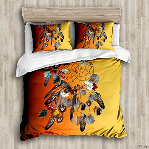 Dream Colored Feather Bedding Set with Zipper Closure modern style 2/3 Pieces Hypoallergenic Soft Microfiber Quilt Cover Set (Dreamcatcher 02, Double)