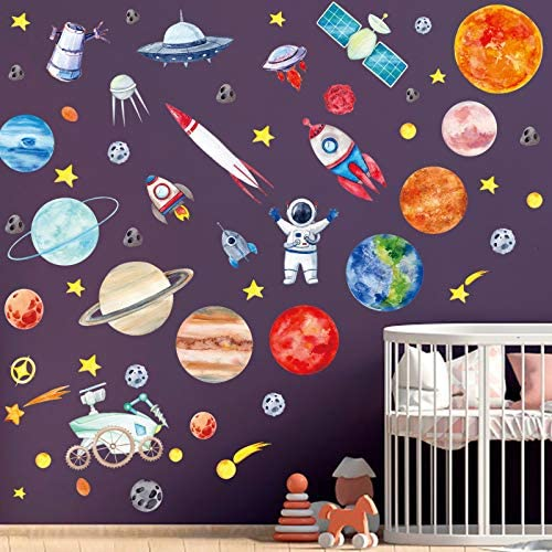 4 Sheets Space Wall Stickers Galaxy Astronaut Rocket Spacecraft Alien Decoration Planet Wall product image
