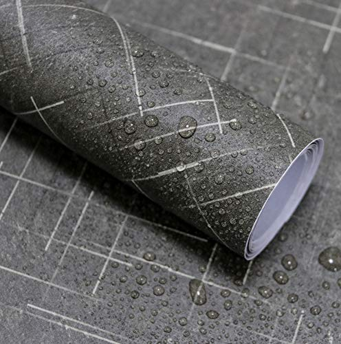 """Grey Marble Contact Paper Self Adhesive Film Waterproof Wallpaper for Countertops Peel and Stick Wallpaper Bathroom Wall Covering Easy to Clean Vinyl Film 17.7""""x118"""""""