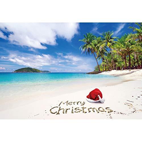 DASHAN 10x6.5ft Tropical Hawaiian Christmas in July Backdrop Merry Christmas Photography Beach Santa Seaside YouTube Christmas Xmas Background Palm Tree Home Christmas Family PhotoProp