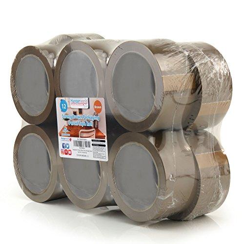 Hangerworld 12 Rollos de Cinta Adhesiva 66m para Embalar Marrón Adhesivo Acrílico