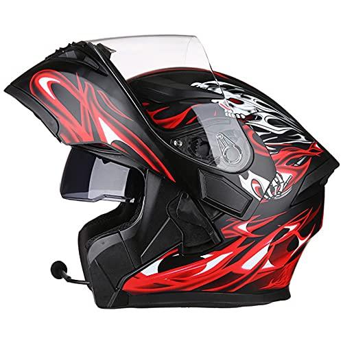 Cascos Bluetooth modulares para motocicleta visor doble tipo abatible de cara completa hombres adultos Mujeres Sistema de comunicación de integrado Certificación ECE,C,XXXL 63~64cm