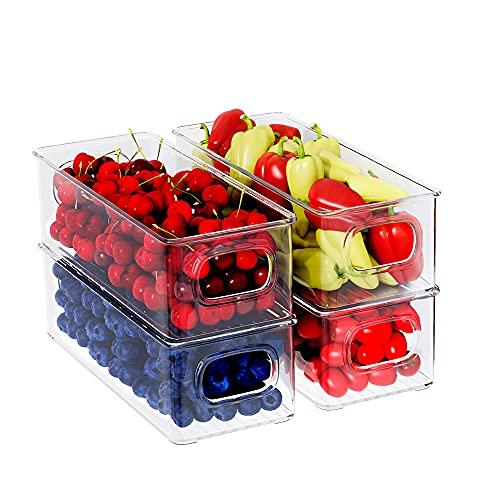 FINEW Kühlschrank Organizer 4er Set, Stapelbar Küchen Aufbewahrungsbox, Klein Kühlschrank Boxen mit Griff, durchsichtig Behälter für Küchen, Schränke, Gefrierschrank, Speisekammer - BPA Frei
