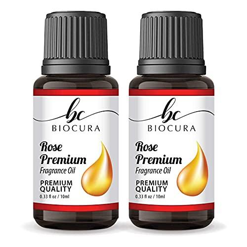"""Biocura Óleo de fragrância Rose Fresh Cut para projetos """"faça você mesmo"""", difusor de perfume, sabonetes artesanais, velas e fabricação de slime, massagem de aromaterapia, loções corporais perfumadas cosméticas, 10 ml x 2"""