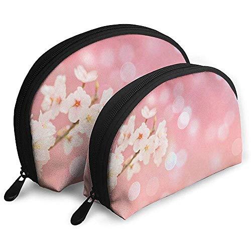 Cherry Blossom Spring Pink Bolsas portátiles Bolsa de Maquillaje Bolsa de artículos de tocador, Bolsas de Viaje portátiles multifunción Pequeña Bolsa de Embrague de Maquillaje con Cremallera