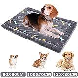 ALLISANDRO Hundematte Hundedecke Waschbar Strapazierfähige 80 * 60cm Hygienisch und rutschfest Eckig Bones Weiche Hundebette mit kuscheligem Plüsch für Hunde & Katzen Grau