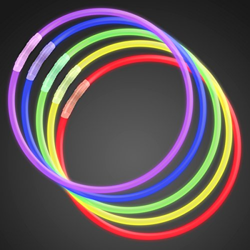 FlashingBlinkyLights Premium 22 Inch Glow Stick Necklaces in Assorted Colors, Bulk Tube of 50 Glowstick Necklaces