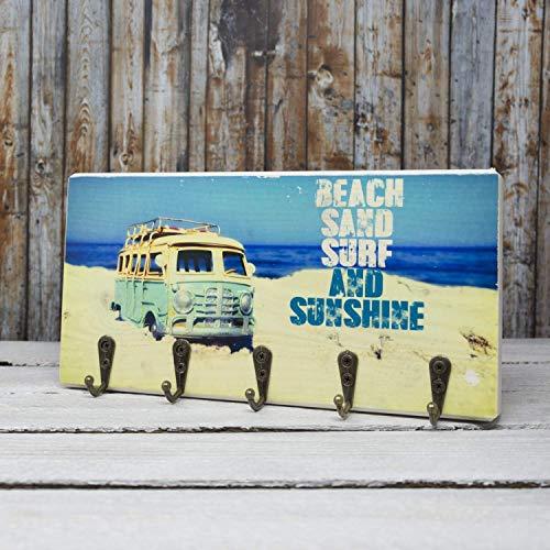 elbPLANKE mit Haken - Beach, Sand, Surf and Sunshine | 12x24 cm | Schlüsselbrett von Fotoart-Hamburg | mit 5 Antike Haken aus Holz (Kiefer/Fichte) - 100% Handmade