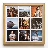 Porte-photos mural carré [33 x 33 cm] avec 9 ouvertures [8,5 x 8,5 cm] pour créer ton collage de photos – Cadre pour plusieurs...