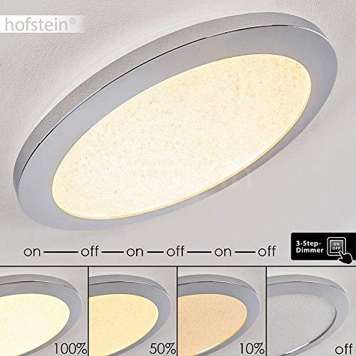 LED Deckenleuchte Fasola, runde Deckenlampe mit Glitzer-Effekt aus Metall in Chrom, 18 Watt, 1200 Lumen, 3000 Kelvin, über Lichtschalter in 3 Stufen dimmbar, Leuchte mit Sternenhimmeloptik, IP44