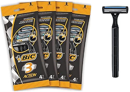 BIC 3 Action Men's Disposable Razors - Bundle of 4 Packs of 4