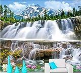 HCWYQ DIY Fototapete Tapete Natürliche Landschafts Wasserfälle Schwäne Snowy Berglandschaften Für Wohnzimmerdesign Tapete (W) 300X(H) 210Cm