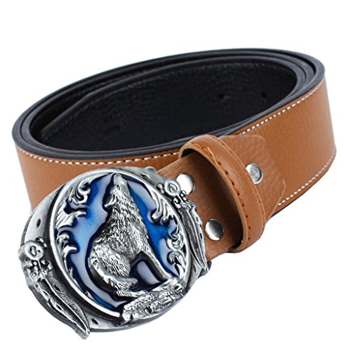 Baoblaze 1 Universal Fiber Leather Adjustable Retro Belt Piece for Man Women Jeans Cargo Trouser Jeans - Brown with Wolf Pattern Buckle, as described