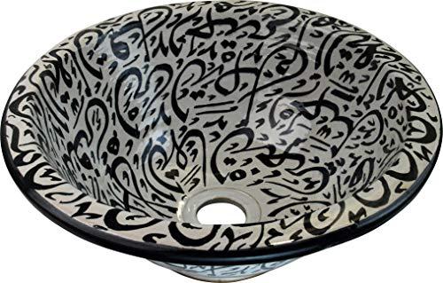 Old FES - Lavabo da bagno in ceramica con calligrafia bianca e nera dipinta a mano in stile marocchino, rotondo, verniciato al rovescio – Di 30 cam H 14 cm – Vero lavabo per calligrafia dipinto a mano