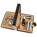 Kit de Cortaúñas Kit de pedicura de cortañas para adultos 13 en 1 Kit de aseo profesional de acero inoxidable Juego de clipper Uñas para hombres herramientas de cuidado de uñas con lujoso caso de viaj