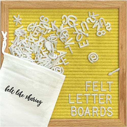 Felt Letter Board, 10x10in Changeable Letter Board with Letters White 300 Piece - Felt Message Board, Oak Frame Wooden Letter Board for Baby Announcements, Milestones, Office Decor & More (Yellow)