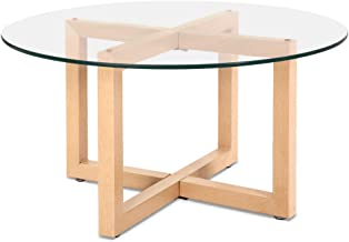 Artiss Tempered Glass Wooden Coffee Table