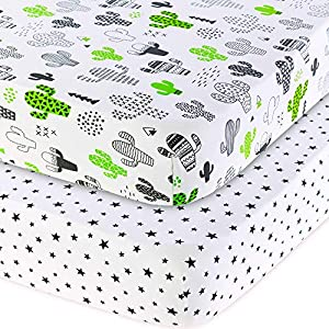 Handywa – 100% Cotton 2 Pack Fitted Crib Sheets Set for Baby and Toddler Bed Mattresses – Green Cactus and Black Stars Theme for Boy or Girl Nursery