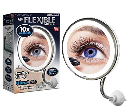 "My Flexible Mirror 10x Magnification 8"" Make Up Round Vanity Mirror for Home, Bathroom use with Super Strong Suction Cups As Seen On TV"