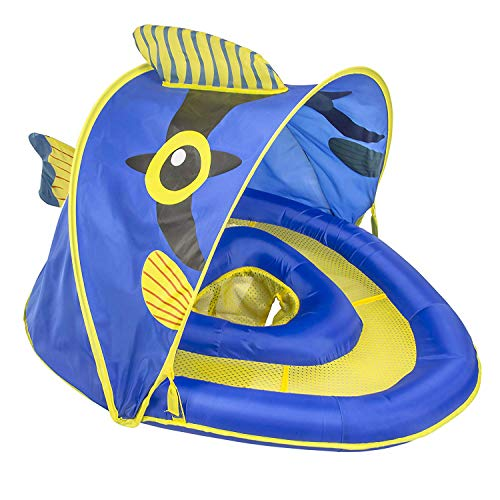 SwimSchool Angel-the-Fish Fabric Baby Pool Float, Splash & Play Activity Center,Dual Air Pillow Chambers w/Retractable Canopy & Adjustable Safety Seat, Baby Float, UPF 50, 6 To 24 Months, Blue/Yellow
