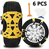 Buyplus Upgrade Snow Chains for Cars - 6 Set Emergency Anti Slip Tire Straps, Car Snow Chain for Trucks Minivan Pickup SUV/ATV/UTV Winter Universal Tire Blocks