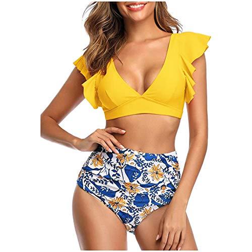 Las Mujeres de Dos Piezas más el tamaño Atractivo sin Espalda Halter Colmena de la impresión de la Playa de baño Set(A-Amarillo/Medium)