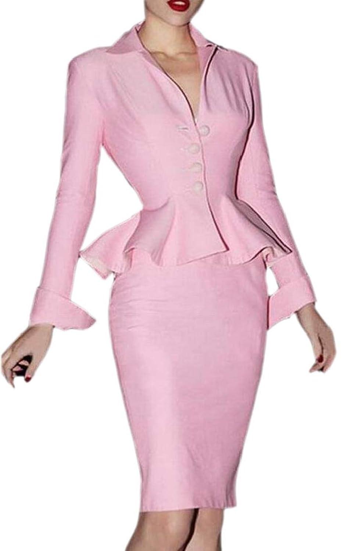 chenshiba-JP 女性のオフィスOLスリムブレザーミニskritオフィス長い袖スーツセット