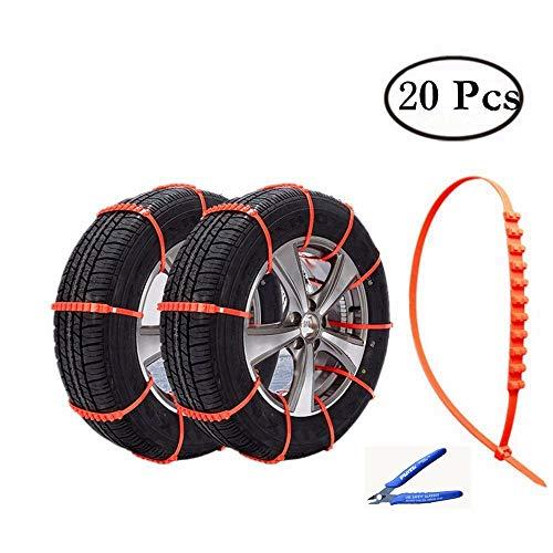 HCMAX 20 Stück Notfall Flucht Einweg Schnee Helfer Zip Grip Gob Reifen Kette Autoreifen Anti-Rutsch-Kette verschneite Reifen-Anwendung