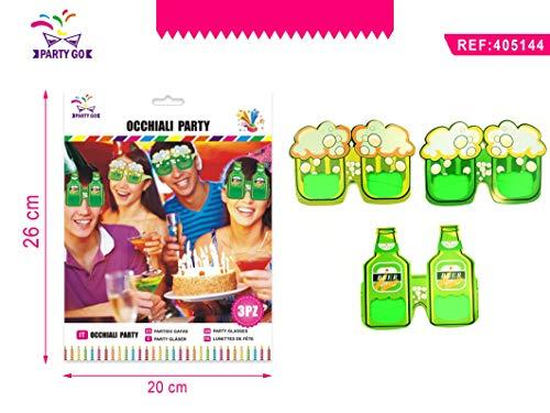 Partylandia Paquete de 3 Gafas con Botellas y jarras de Cerveza. Verdes