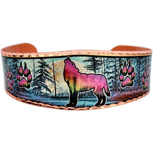 Brazalete de cobre con diseño de lobo aullando en los pinos, par de huellas de pata, joyería para mujeres, unisex