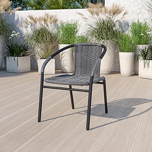 Flash Furniture Gray Rattan Indoor-Outdoor Restaurant Stack Chair
