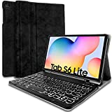Wineecy Galaxy Tab S6 Lite 2020 Keyboard Case 10.4 [Backlit,SM-P610,SM-P615], 7 Color Light Detachable Wireless Keyboard with PU Folio Stand Cover for Samsung Galaxy Tab S6 Lite 10.4 Inch 2020, Black