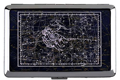 Silber Metall Zigarettenetui, Sternbild Sternbild Sternzeichen Himmel Themen der Visitenkartenetui