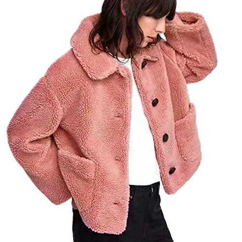Herfst winter wollen jas dames Vrouwen knoop gebreide jas warm dikke winterjas dames kunstmatige wol jas parka outwear vrouwen korte jas zwart roze