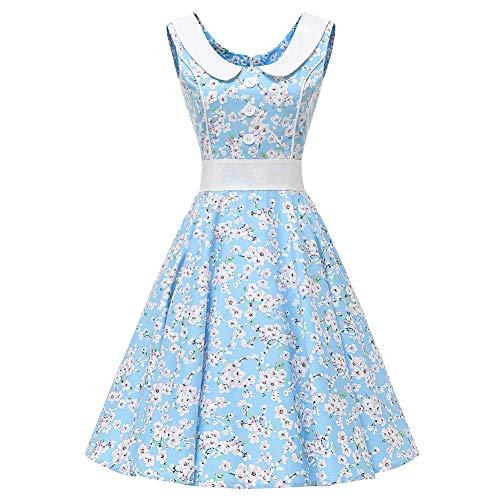 SXSHUN Vestido Retro Años 50 para Mujeres Vestido Vintage Rockabilly Polka Vestido Años 60 sin Mangas Cuello Redondo, Azul/Sakura, L