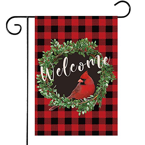 Disheen Cardinal Christmas Garden Flags 12 x 18 Prime, Boxwood Wreath Winter Buffalo Plaid Christmas Yard Flags, Outdoor Christmas Decorations Clearance