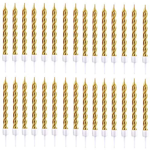 Geburtstagskerzen Kuchen,30 Stück Metallisch Kuchenkerzen Lange Geburtstag Kerzen mit Haltern für Geburtstag Hochzeitsfeier Dekoration