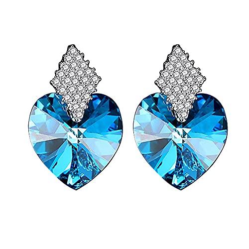 AZPINGPAN Pendientes de Cristal Azul Ocean Love, Americana Retro 925 Pendientes de Plata esterlina Pendientes Brillantes para Mujer Regalos de joyería Exquisita para niñas
