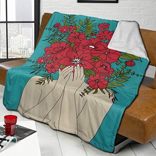 Dearl Blooming - Manta de forro polar de sherpa roja suave manta mullida manta cálida acogedora para todas las estaciones para sofá cama (50 pulgadas x 40)