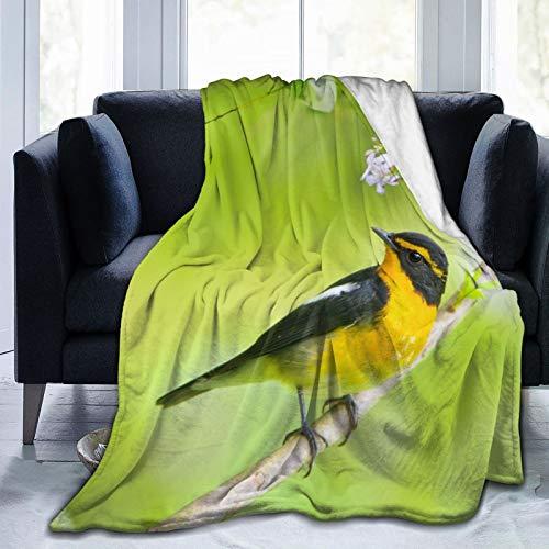 Cap pillow Fleecedecke 127 x 152,4 cm – Japanischer Flycatcher Vogelhaus Flanell Fleece weich warm Plüsch Überwurf Decke für Bett/Couch/Sofa/Büro/Camping