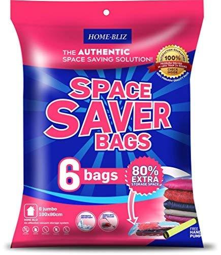 Bolsas de almacenaje al vacío Premium (6pack 100 x 80CM ) Bolsas Extra Gruesas que permiten ahorrar Espacio * 6 bolsas Jumbo + Bomba Manual GRATIS para Viajes. Cierre con doble cremallera.
