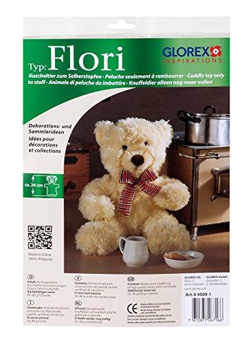 GLOREX 0 4509-1 - Kuscheltier zum Selberstopfen Teddy Flori, ca. 26 cm groß, aus hochwertigem Plüsch genäht, muss nur noch befüllt werden, mit Geburtsurkunde