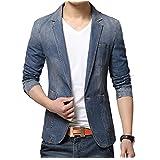 (メイク トゥ ビー) Make 2 Be メンズ デニム テーラード ジャケット アイテム テラジャケ + 便利 アイテム 携帯 靴べら MA01 (ブルー Mサイズ)