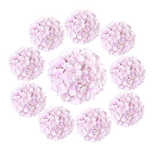 Cotemdery Hortensias artificiales, 10 unidades, flores de hortensias de seda con tallo para arreglos florales, decoración de mesa, decoración de boda, hogar, color morado claro