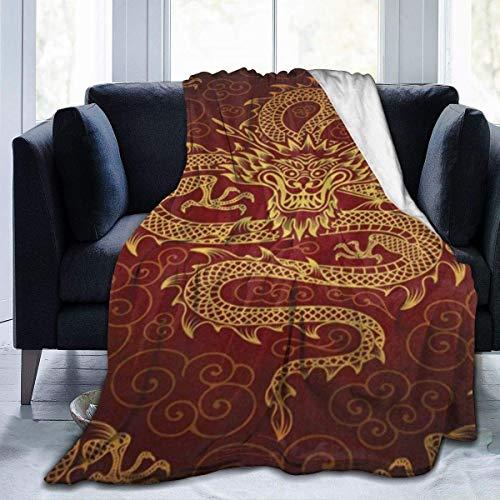 UK Plüsch Überwurf Samt Decke Chinesischer Drache Feuer Dicker Fleece Teppich Camping Bett für Herren Gemütliche Schlafmatte Pad Flanell Abdeckung für Herbst 204 x 153 cm