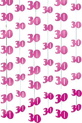 PINK 6 X hangende decoratie 30e verjaardag slingers